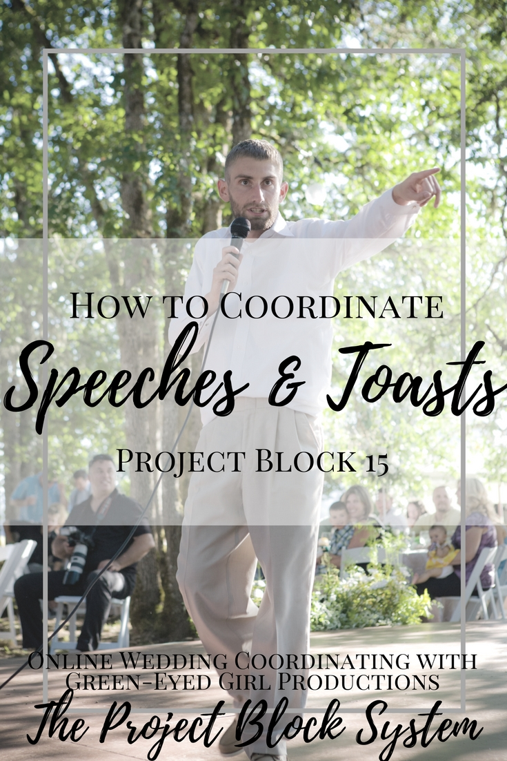 How to Coordinate Wedding Speeches and Toasts. How to give a wedding speech. How to plan wedding toasts. When do you toast at a wedding. What is the difference between a Wedding Toast and a Speech. The difference between a Toast and a Speech. All about Wedding Toasts. How to build your Wedding Reception Timeline. Wedding Speeches. Wedding Toasts