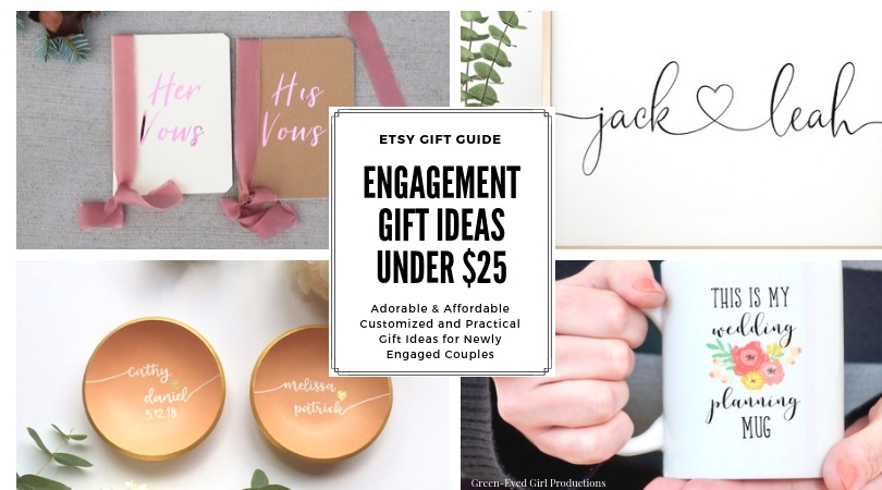 Engagement Gift Ideas for newly engaged couples. Engagement Gifts under $25. Customized Engagement Gifts. Personalized Engagement Gifts. Etsy Gift Guide. Wedding Planning