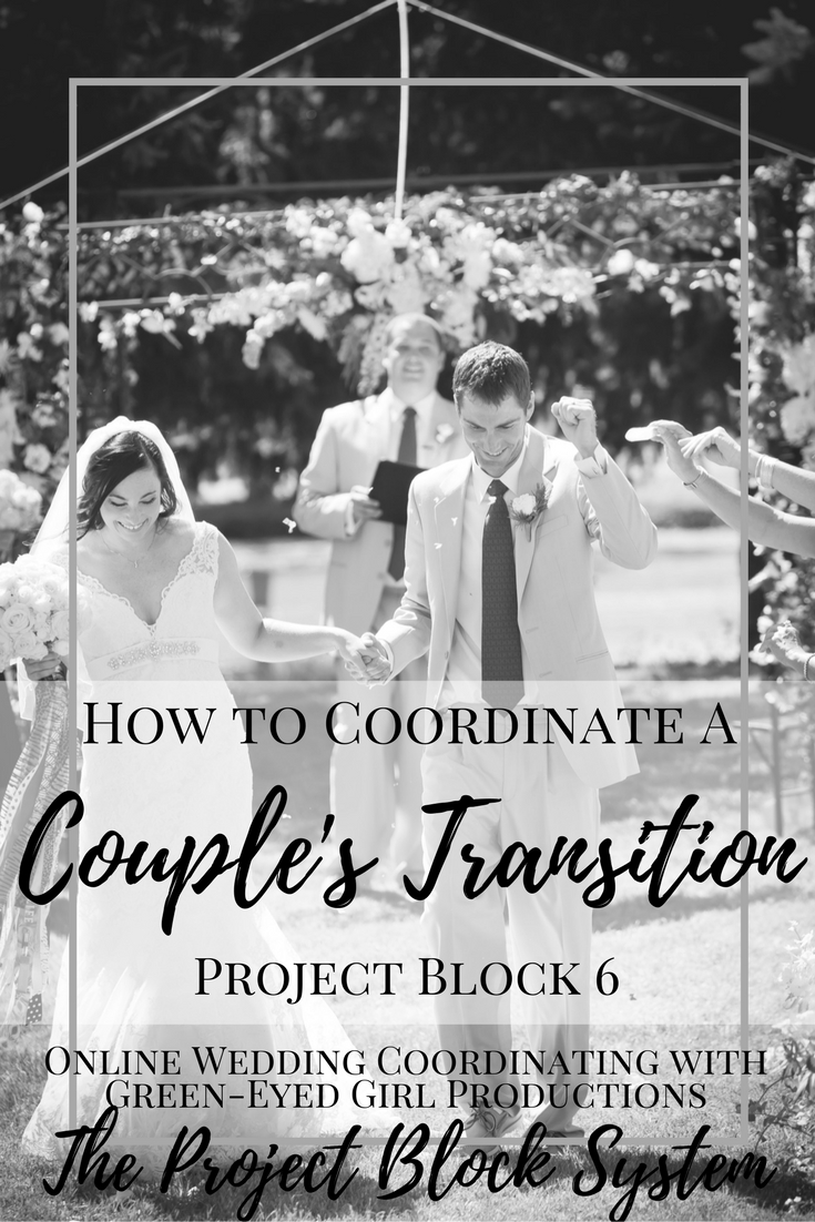 How to Coordinate a Couple's TRansition after teh Ceremony. What happens after the Ceremony. When do Wedding Pictures Happen
