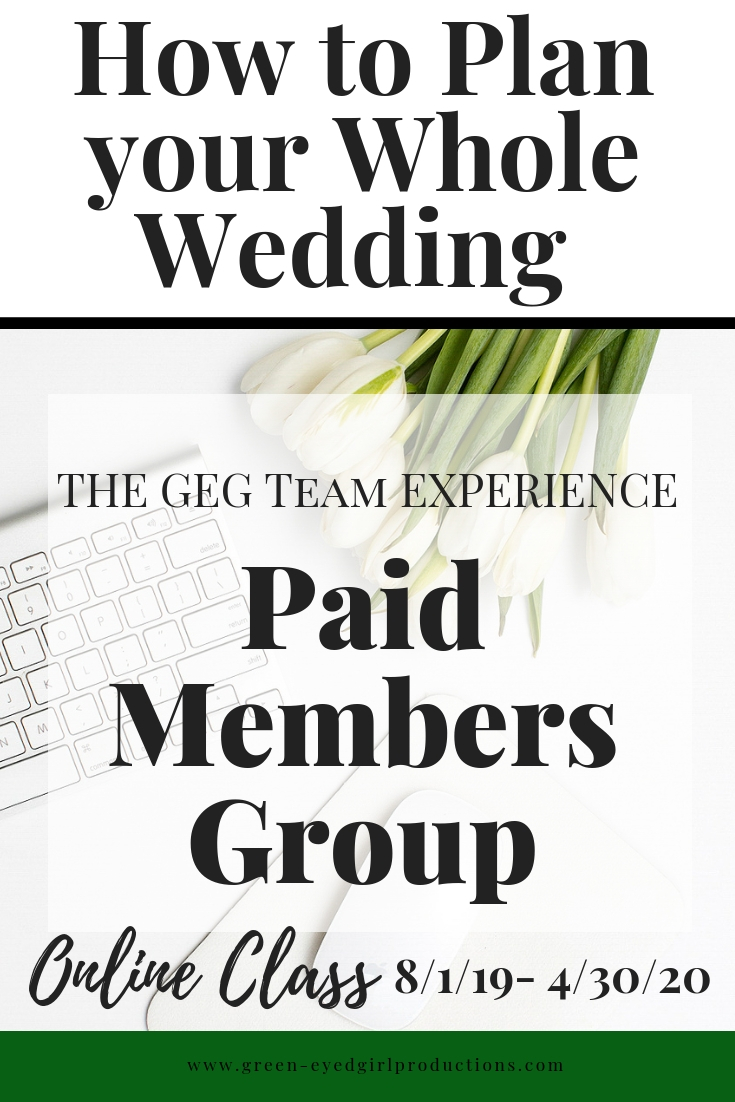 Register for the only Wedding Planning Accountability Team you'll need to Plan your whole wedding in 35 Weeks! You'll receive your Wedding Planner Binder, Printables and More. Plan your entire Wedding on your own, one PRoject Block at a Time with a little help from Green-Eyed Girl Productions!